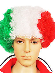 Capless Football Fans Party Wig(Italian Flag Colors)