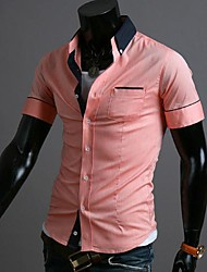 Men's Lapel Contrast Color Short Sleeves Shirt