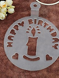 Plastic Happy Birthday And Candle Hard Spray Flower Cake Mould,Dia 15cm