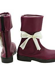 Touhou Project Alice Dark Red PU Leather Cosplay Boots
