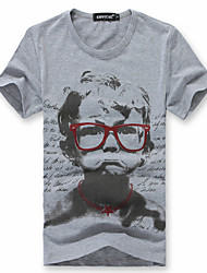 T-shirt Cool Summer Happy Time Boy Figure Imprimé (Gray)