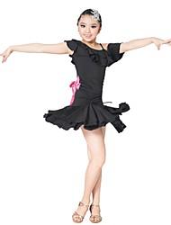 Vêtements viscose avec Ondulé et bowknot performance Latin Dance Dress For Children Plus de couleurs
