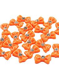 20PCS 3D Orange Resin Rhinestone Bowknot Nail Decorations