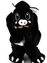 Kigurumi Pajamas Piggy/Pig Leotard/Onesie Festival/Holiday Animal Sleepwear Halloween Black Patchwork Flannel Kigurumi For KidHalloween /