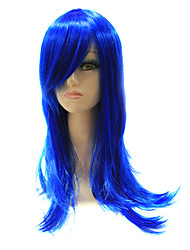 Capless Synthetic Blue Straight Synthetic Hair Full Wig For Party
