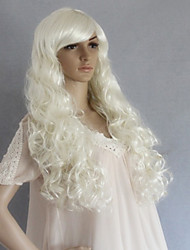 White Long Synthetic Wavy Wig Side Bang