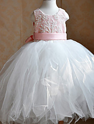Kids' Dancewear Dresses / Tutus Children's Training Polyester / Tulle Beading / Lace / Sash/Ribbon Pink / WhiteBallet / Ballroom /
