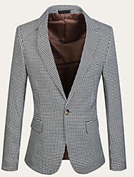 Men's Casual / Work Blazer,Cotton / Polyester / Lycra Long Sleeve White