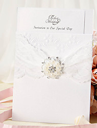Wrap & Pocket Wedding Invitation With Lace Ribbon and Faux Pearl - Set of 12