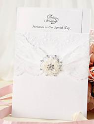 Convite do casamento Wrap & bolso com fita do laço e pérola de falso - conjunto de 12