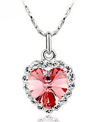 Mujeres Mengguang Austrian Crystal Heart Necklace578