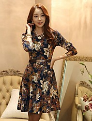 Sexylady Women's Fashion Long Sleeve Flower Pattern Cotton Dress