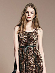 SuFan Women's Elegant Leopard Sleeveless Dress(Leopard)