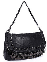 Maga Women's Fashion Punk Style Sheepskin Rivet Tassel One Shoulder/Crossbody Bag(Black)