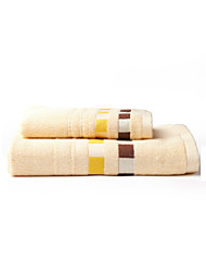 2 Pack Bamboo Stripe Towel Set, 1pc Bath Towel/1pc Hand Towel