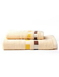 2 pièces bambou serviettes de bain à rayures, salle de bain 1pc towel/1pc serviette
