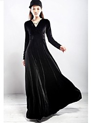 Women's V-neck Pleuche Maxi Dress