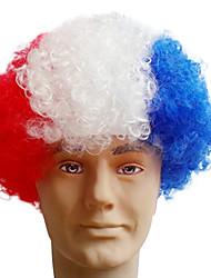 Black Afro Wig Fans Bulkness Cosplay Christmas Halloween Wig French Flag Wig 1pc/lot