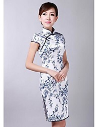 Women's Vintage / Print Floral Sheath Dress , Stand Above Knee Silk