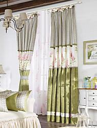 (Dois painéis duplo plissado) país minimalista cortina de poupança de energia floral