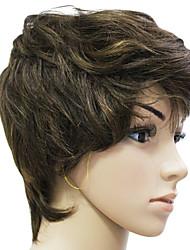 Sin tapa 100% del pelo humano Marrón chocolate corto peluca de pelo rizado