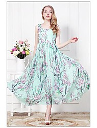 Women's Holiday Sexy Swing Dress,Floral Round Neck Maxi Sleeveless White / Green All Seasons