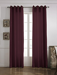 (One Panel Grommet Top) Modern Minimalist Burgundy Solid Energy Saving Curtain