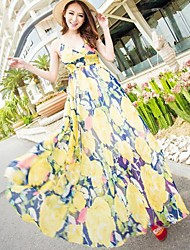 TS-Casual Bohemia Floral Print Strape Beach Maxi Dress