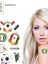 Motif 2PCS Football Coupe du Monde au Mexique étanche Body Tattoo temporaire Glitter autocollants