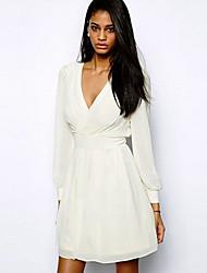 v pescoço chiffon cintura alta manga longa vestido branco bens Dexon das mulheres