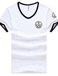 Herren T-shirt-Druck Freizeit Baumwolle Kurz-Blau / Weiß