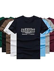 Hombres de cuello redondo manga corta de impresión T-shirt