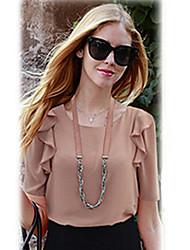Mode 1/2 manches en mousseline de soie shirt WeiMeiJia femmes (écran couleur)
