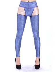 Elonbo Women's  Digital Printing Coloured Drawing or Pattern Contracted Blue Style Tight Leggings