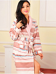 Bath Robe,High-class Woman White Stripe Print Garment Thicken