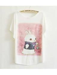 Damen Druck Einfach / Niedlich Lässig/Alltäglich T-shirt Sommer Kurzarm Weiß Baumwolle Dünn