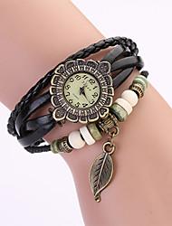 Koshi 2014 de las mujeres de la hoja de la vendimia de la manera de la cadena de reloj de cuero (Negro)