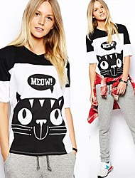 Splice gola redonda da Mulher Hit T-shirt impresso Gato Cor