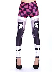 Elonbo Women's  Digital Printing Coloured Drawing or Pattern Terrible Female the Ghost Style Tight Leggings