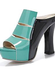 Patent Leder Damen Blockabsatz Slide Hausschuhe Schuhe (weitere Farben)