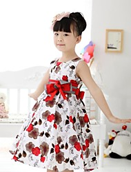 Girl's Sleeveless Flower Cotton Dress