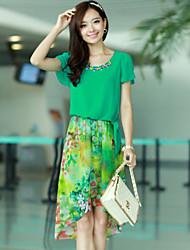 Chiffon vestido de manga curta ShangBo Moda feminina (verde)