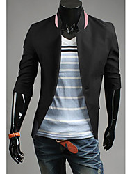 LEEBIN Männer Slim Solid Color ¾-Arm-Blazer (Schwarz)
