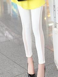 Женские Сторона сетки колющими Тощие Crop брюки