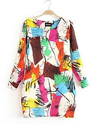 The New Spring And Aummer Dress, Women's Dress Code And Graffiti Chiffon Dress MM Fat Thin Backing Skirt