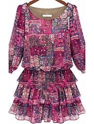 mini vestido, tamaños gasa más púrpura / print / trabajo de las mujeres