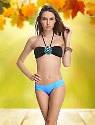 VBM Women'sBiack Diamante Retro sin tirantes del bikiní del Beachwear atractivo del traje de natación