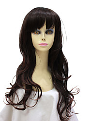 Capless Synthetic Dark Brown Curly Synthetic Hair Wig For Young Lady