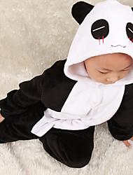Cute Little Panda Black & White flanela Crianças Kigurumi Pajama