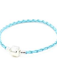 Argent Plaqué Light Alloy Bracelet en cuir bleu